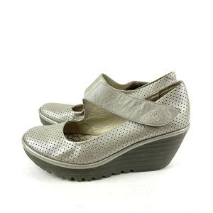 Fly London Yeon Maryjane Shoes 40 Perforated Pewte